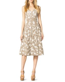 Womens Floral Embroidered Dance Dress   Michael Kors   Hemp melange (4)