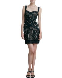 Womens Fitted Lace Cocktail Dress   Nicole Miller   Black/Nude (12)