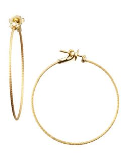 18k Yellow Gold Diamond Cluster Hoop Earrings, 40mm   Paul Morelli   Yellow
