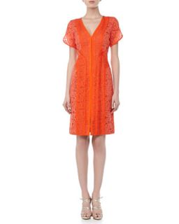 Womens Lace Dress with Organza Overlay, Tiger Lily   J. Mendel   Tiger lily (6)