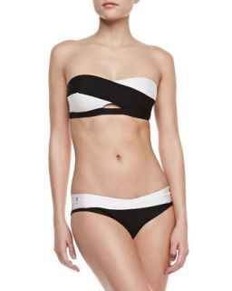Womens Two Tone Bandage Two Piece Swimsuit   Herve Leger   Blk w/ alabaster