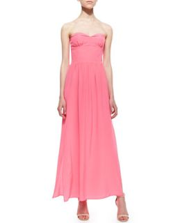 Womens Mimosa Strapless Pleated Maxi Dress, Pink Ribbon   Amanda Uprichard