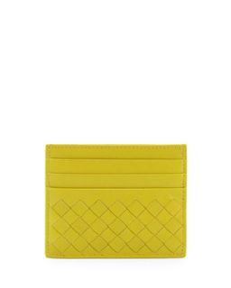 Woven Leather Credit Card Sleeve, Chartreuse   Bottega Veneta   Chartruese