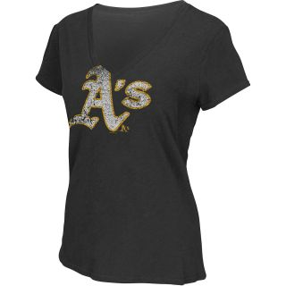 G III Womens Oakland Athletics Logo Slub V Neck Short Sleeve T Shirt   Size
