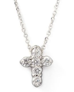 Diamond Cross Pendant Necklace, White Gold   KC Designs   White gold