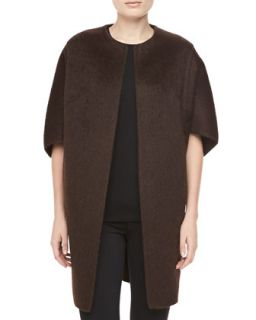 Womens Open Front Brushed Alpaca & Wool Coat, Chocolate   Michael Kors   Black