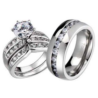 His And Hers Wedding Ring Sets Titanium Vermeil Sterling Silver Cubic Zirconia Wedding Ring Sets Jewelry