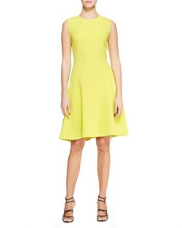 Womens Seamed Drop Waist Dress, Citrine Yellow   Lela Rose   Citrine (16)