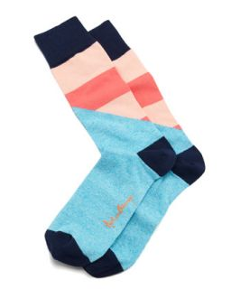 Halved Large Stripe Mens Socks, Aqua   Arthur George by Robert Kardashian