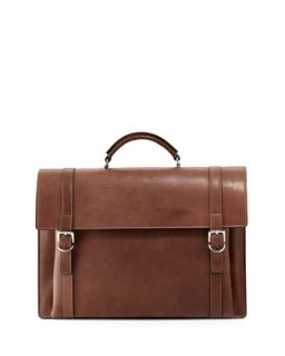 Mens Aged Leather Flap Briefcase, Brown   Brunello Cucinelli   Brown