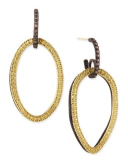 Midnight & Yellow Gold Circle Link Drop Earrings with Diamonds   Armenta