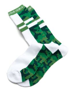 Split Camo Mens Socks, White/Green   Arthur George by Robert Kardashian   White