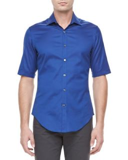 Mens Cotton Short Sleeve Shirt, Bright Blue   Lanvin   Bright blue (40)