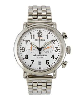 41mm Runwell Mens Chronograph Watch, Stainless Steel/White Dial   Shinola