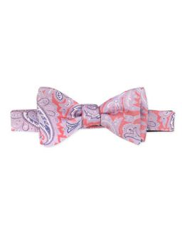 Mens Paisley Tapestry Silk Bow Tie, Pink   Pink