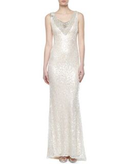 Womens V Neck Sequined Lace Gown   Badgley Mischka   Pearl (2)