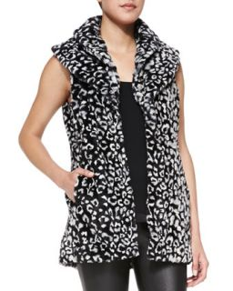 Womens Kelsi Leopard Print Faux Fur Long Vest   Alice + Olivia   Black/White