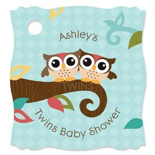 Owl   Look Whooo's Having Twins   Personalized Baby Shower Tags   20 ct Toys & Games