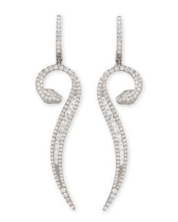 18k White Gold Diamond Snake Earrings   Roberto Coin   White (18k )