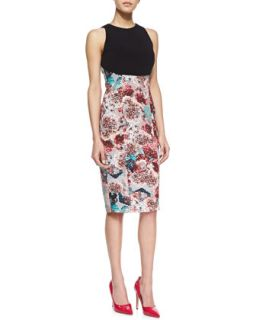 Womens Estelle Solid Top Fitted Dress   Nha Khanh   Floral/Black (4)