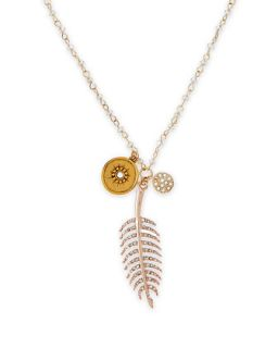 Pave Feather Talisman Necklace with Light Blue Beads   Sequin   White/Gold