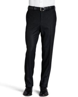 Mens Flannel Flat Front Pants, Charcoal   Kiton   Grey (42R)