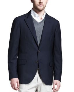 Mens Deconstructed Travel Jacket, Navy   Brunello Cucinelli   Navy (M/50)