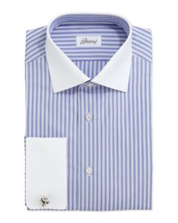 Mens Contrast Collar Striped Dress Shirt, Periwinkle/White   Brioni   Blue (15