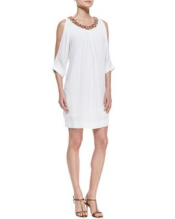 Womens Bead Neck Cold Shoulder Dress   Nicole Miller Artelier   White (PETITE)