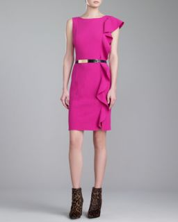 Womens Crepe Ruffle Bateau Neck Dress, Magenta   St. John Collection   Magenta
