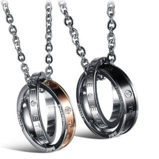His & Hers Matching Set Titanium Stainless Steel Couple Pendant Necklace Korean Love Style in a Gift Box (One Pair) Jewelry