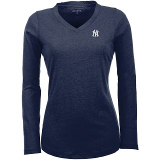 Antigua New York Yankees Womens Flip Long Sleeve V neck T Shirt   Size Small,
