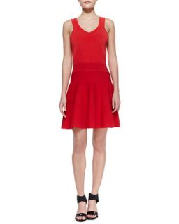 Womens Ribbed Knit Sleeveless Dress   Milly   Tomato (SMALL)