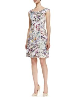 Womens Off Shoulder Printed & Seamed Dress, Multicolor   Kay Unger New York