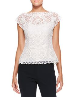 Womens Silk Lace Cap Sleeve Top, Cream   Escada   Off white (34)