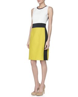 Womens Sleeveless Colorblock Sheath Dress   Paule Ka   Tournesol (42)