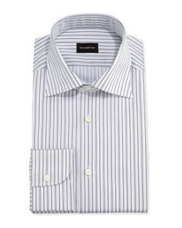 Mens Textured Stripe Dress Shirt, Light Blue/Brown   Ermenegildo Zegna   Red