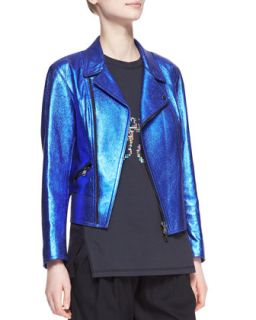 Womens Boxy Metallic Leather Moto Jacket   3.1 Phillip Lim   Cobalt (0)