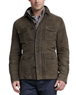 Mens Suede Safari Jacket   Brunello Cucinelli   Olive (LARGE)