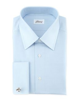 Mens Tonal Stripe Dress Shirt, Blue   Brioni   Blue (15 1/2R)