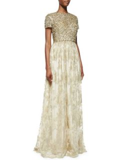 Womens Short Sleeve Sequin Bodice Gown   Badgley Mischka Collection   Gold (2)