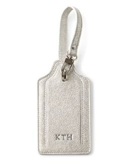 Glitter Leather Luggage Tag   Abas   Black metallic