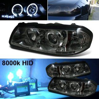 8000k Slim Xenon HID Kit+00 05 Chevy Impala Halo LED Smoke Projector Head Lights Automotive