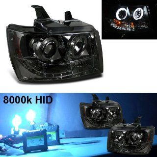 Eautolight 2010 Chevy Tahoe Suburban Halo LED Smoke Projector Head Lights + 8000k Slim Xenon HID Automotive
