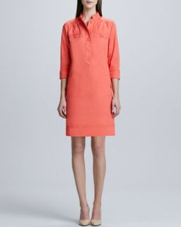 Womens Linen Blend Shirt Dress   Coral (4)