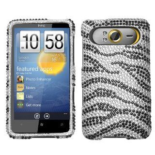 Hard Diamond Phone Protector Cover Case Black Zebra Skin For HTC HD7 HD7S Cell Phones & Accessories