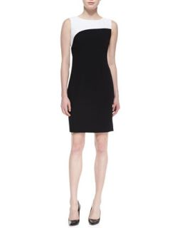 Womens Zehal Sleeveless Swirl Sheath Dress, Black/White   T Tahari