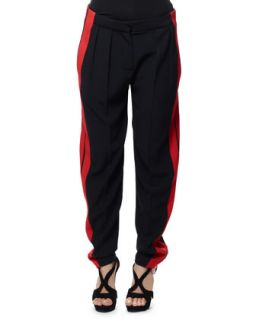 Womens Side Stripe Leaf Crepe Pants, Black/Red   Alexander McQueen   Black/Red