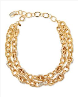 Double Chain Pave Link Necklace, Golden   Lee Angel   Gold