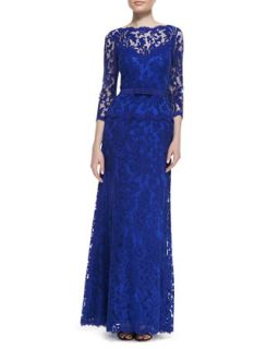 Womens 3/4 Sleeve Lace Gown with Bow Belt, Marina Blue   Tadashi Shoji